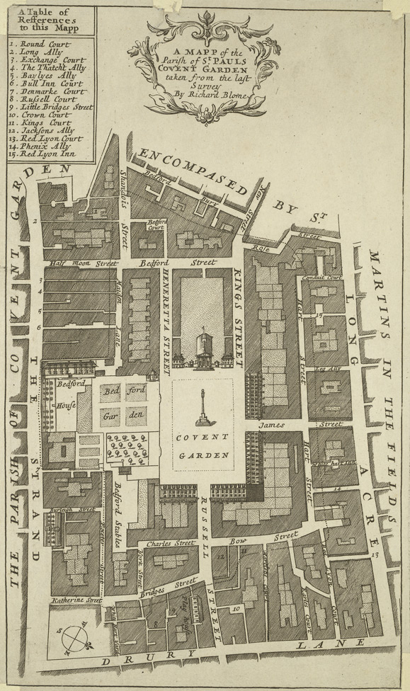 A mapp of the parish of St Pauls, Covent Garden, taken from the last survey (1685)